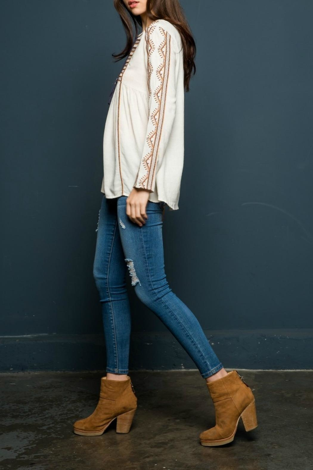 THML Clothing Embroidered Peasant Top - Side Cropped Image