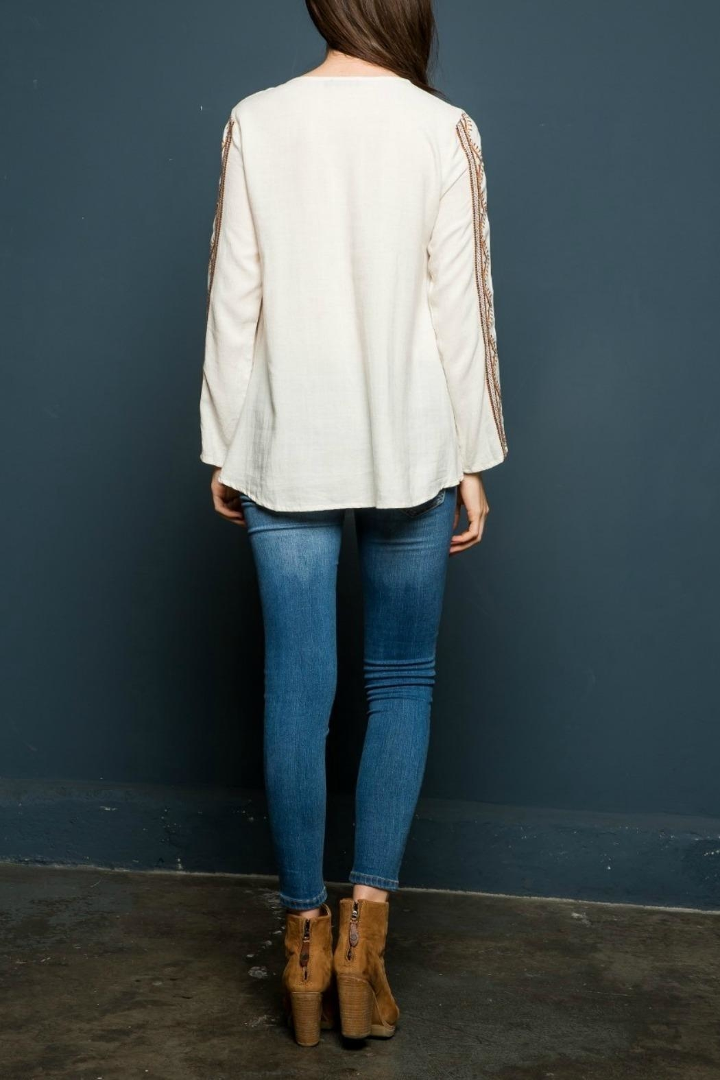 THML Clothing Embroidered Peasant Top - Back Cropped Image