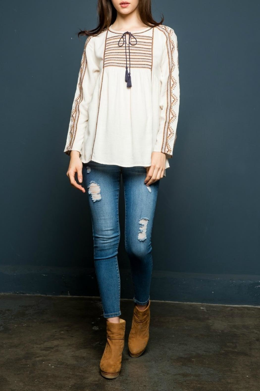 THML Clothing Embroidered Peasant Top - Main Image