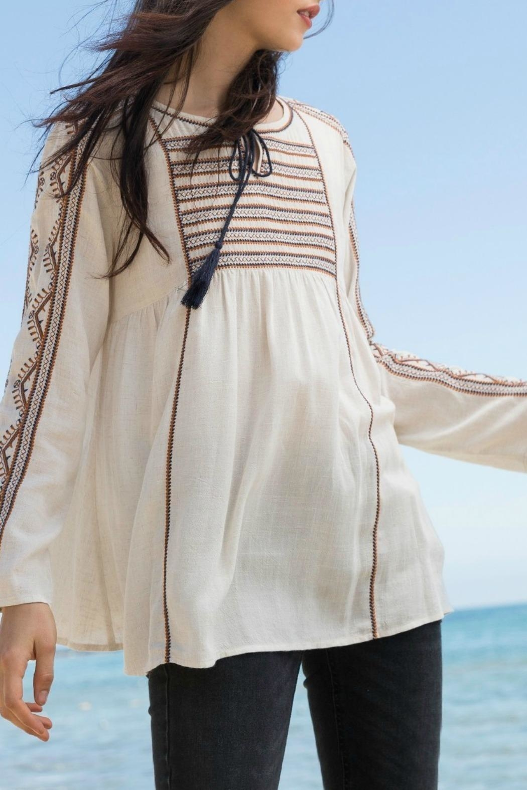 THML Clothing Embroidered Peasant Top - Front Full Image