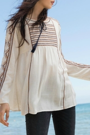 THML Clothing Embroidered Peasant Top - Front full body