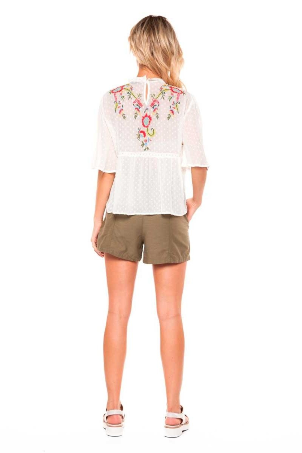 Dex Embroidered Peasant Top - Front Full Image