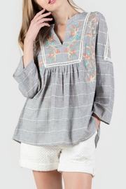 Monoreno Embroidered Peasant Top - Product Mini Image