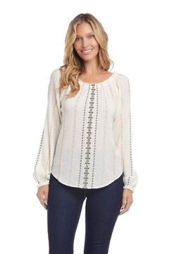 Karen Kane Embroidered Peasant Top, Cream - Product List Image