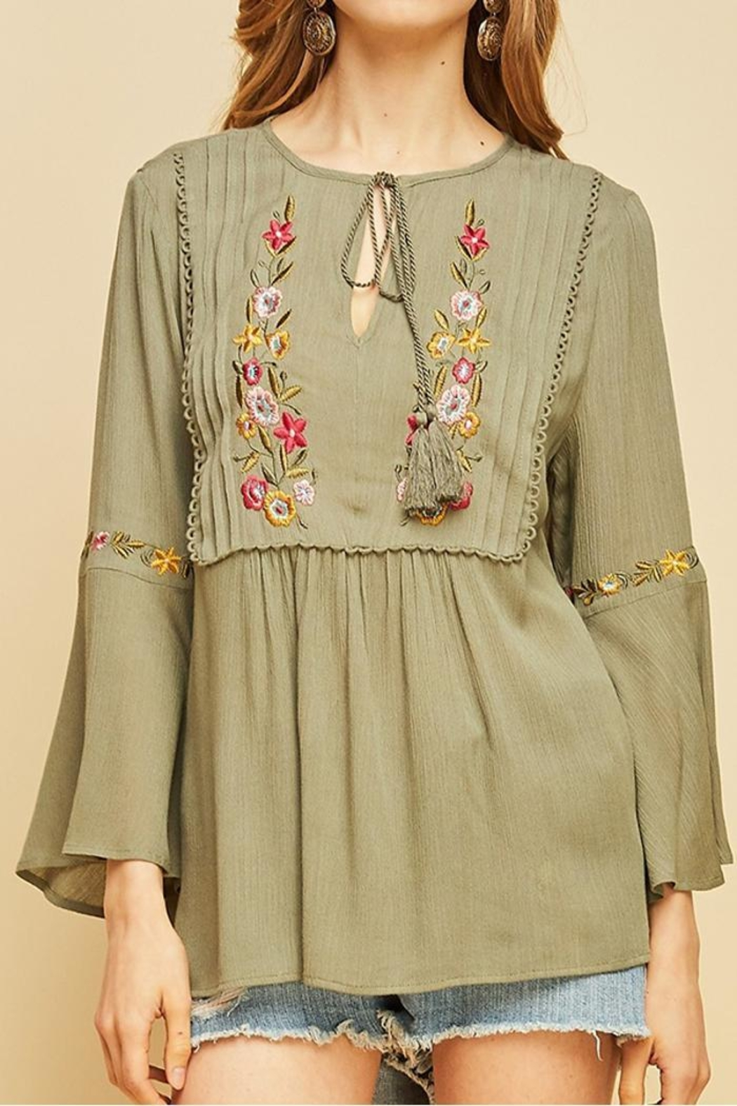 Mio Embroidered Peasasnt Blouse - Main Image