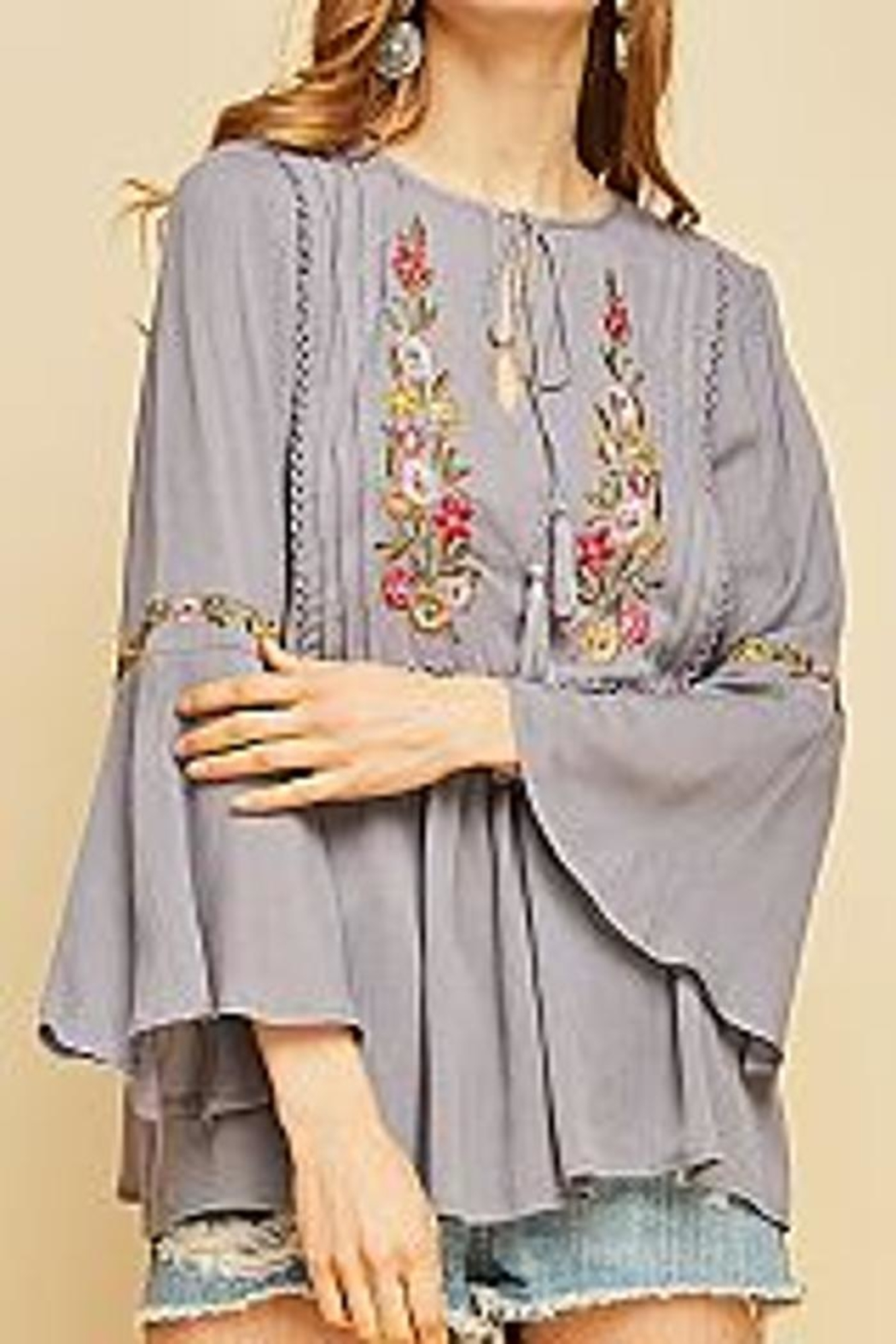 Mio Embroidered Peasasnt Blouse - Front Cropped Image