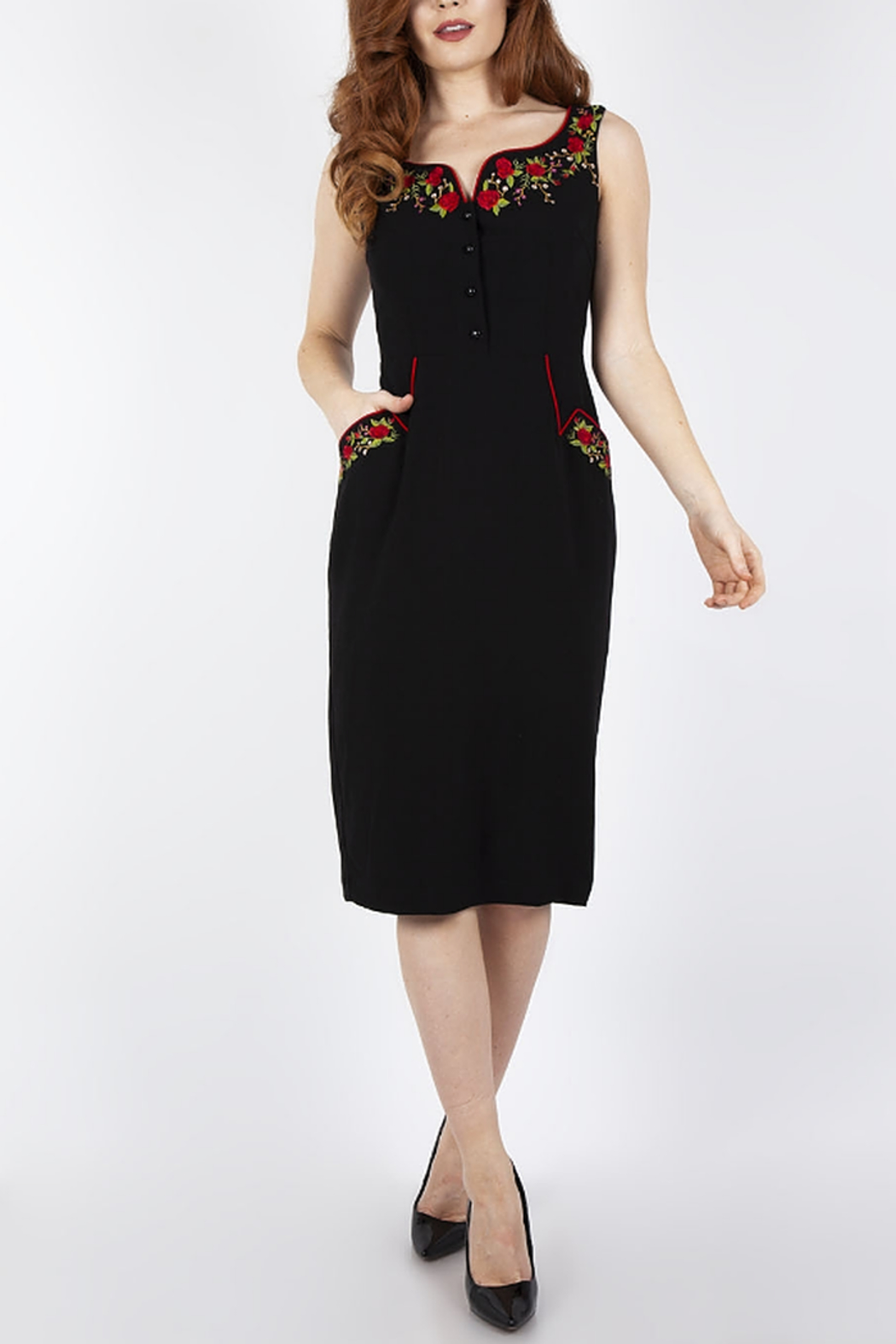 Voodoo Vixen Embroidered Pencil Dress - Main Image