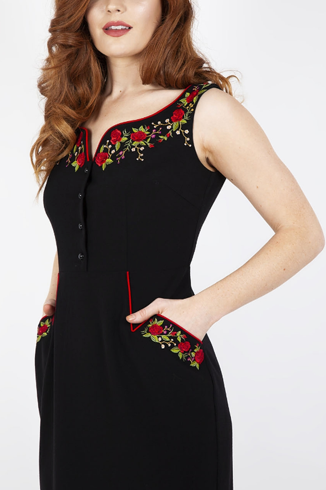Voodoo Vixen Embroidered Pencil Dress - Side Cropped Image