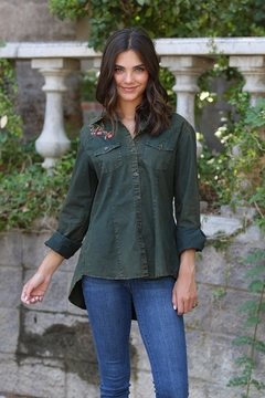 Nostalgia Embroidered Peplum Button-Up - Product List Image