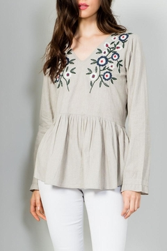 THML Clothing Embroidered Peplum Top - Product List Image