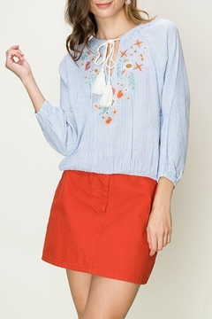 fashion on earth Embroidered Pinstripe Blouse - Product List Image
