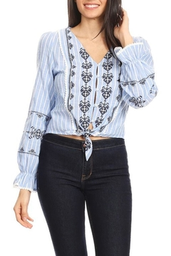 Shoptiques Product: Embroidered Pinstripe Top