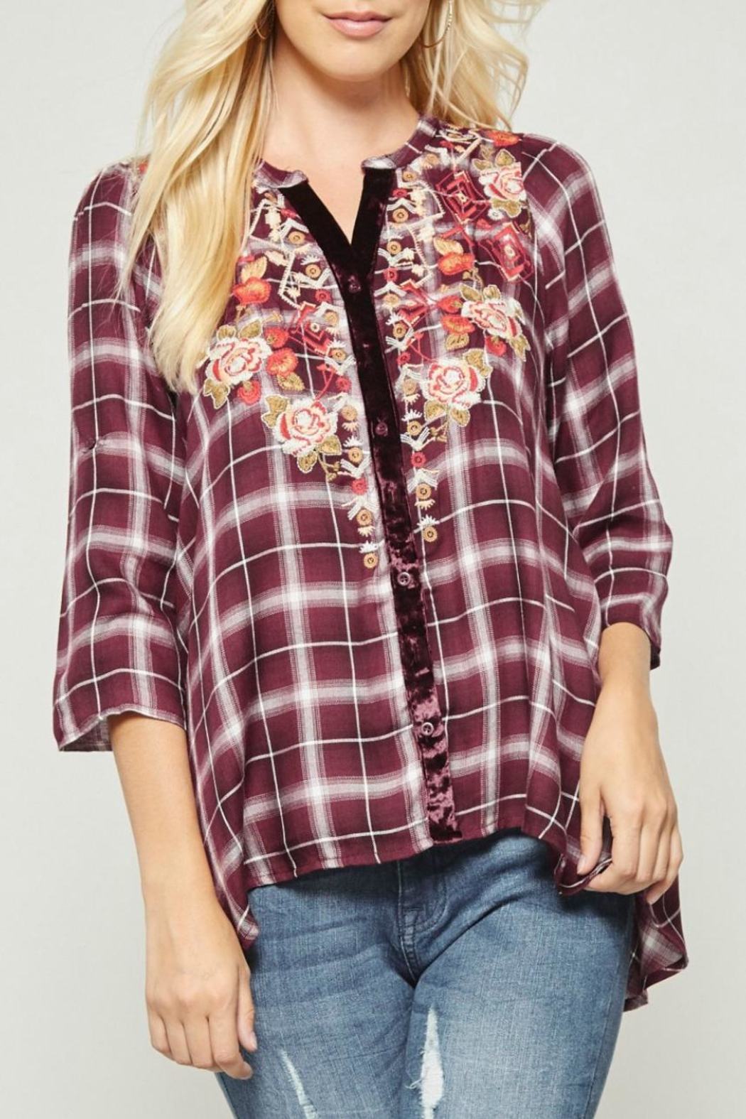 Andree by Unit Embroidered Plaid Button-Down - Main Image