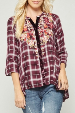 Shoptiques Product: Embroidered Plaid Button-Down