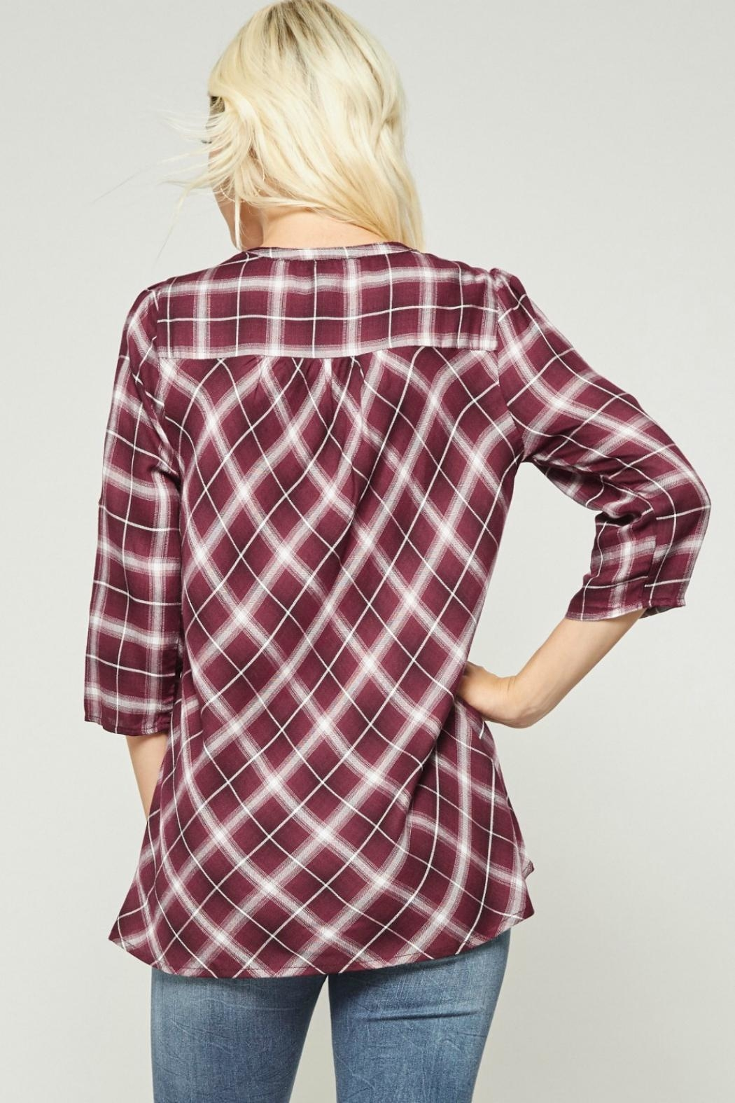 Andree by Unit Embroidered Plaid Button-Down - Front Full Image