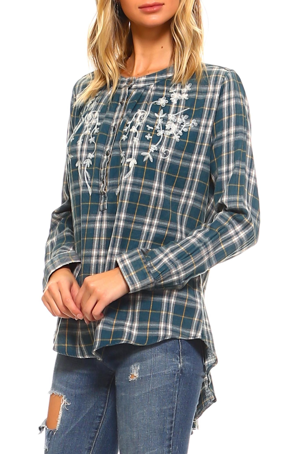Lola P. Embroidered Plaid Shirt - Front Full Image