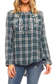 Lola P. Embroidered Plaid Shirt - Front cropped
