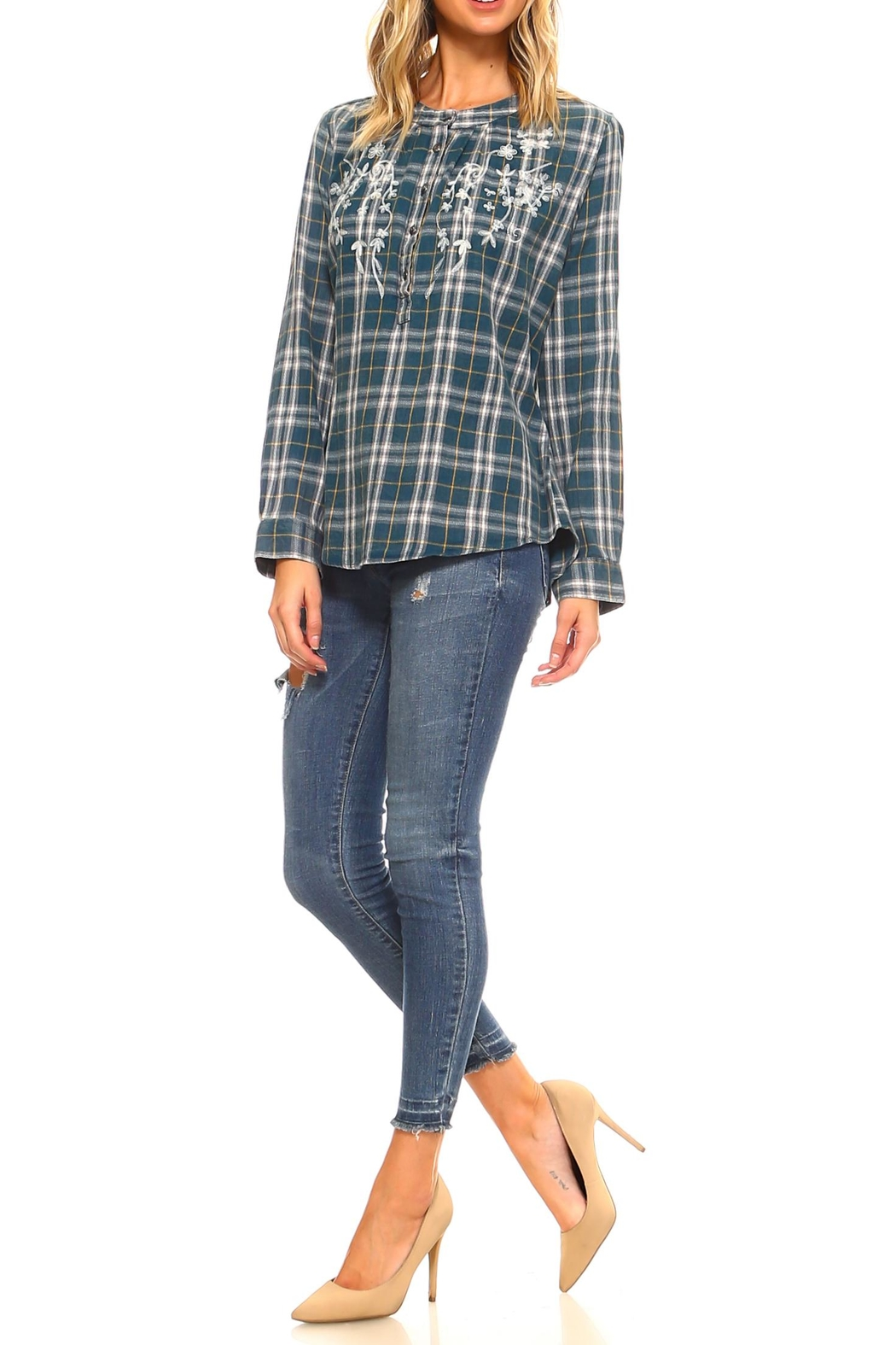 Lola P. Embroidered Plaid Shirt - Side Cropped Image