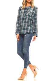 Lola P. Embroidered Plaid Shirt - Side cropped