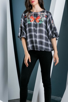 Shoptiques Product: Embroidered Plaid Top
