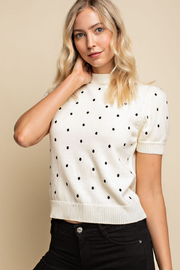 Gilli  Embroidered polka dot top - Product Mini Image