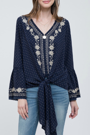 Blu Pepper Embroidered Polkadot Top - Product Mini Image