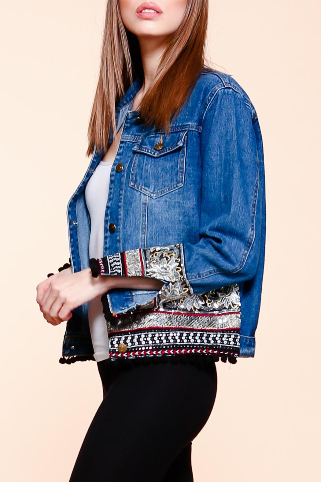 Velzera Embroidered Pom-Pom Denim-Jacket - Side Cropped Image