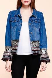 Velzera Embroidered Pom-Pom Denim-Jacket - Front full body