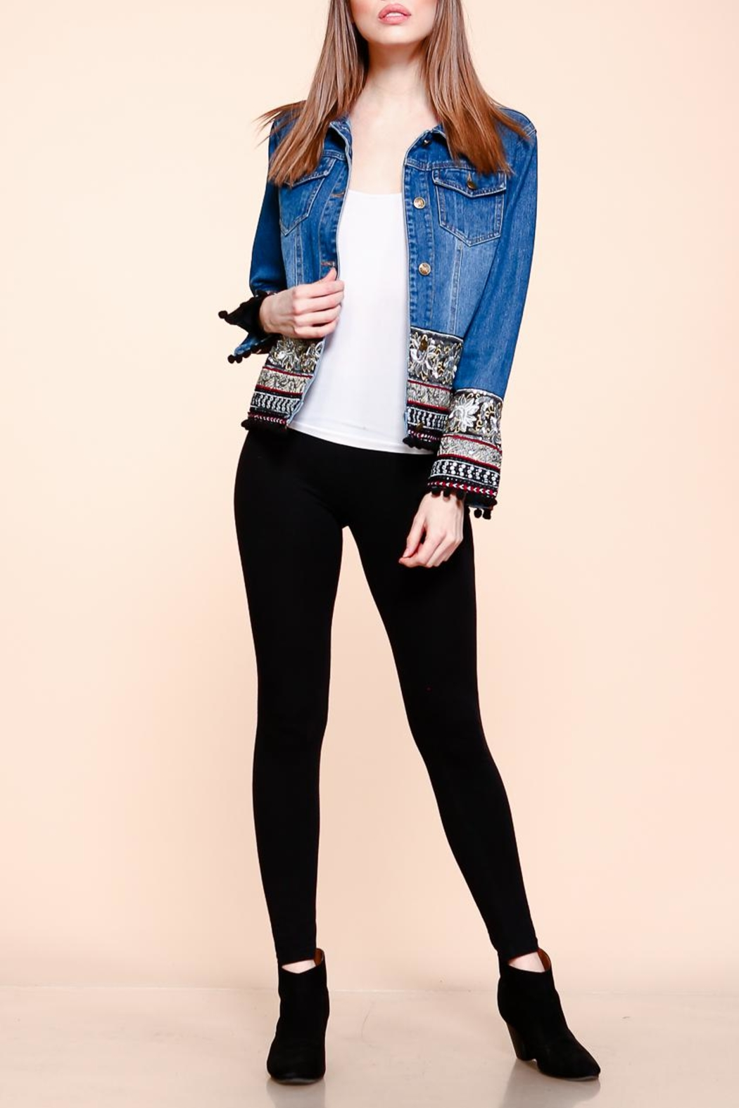 Velzera Embroidered Pom-Pom Denim-Jacket - Main Image