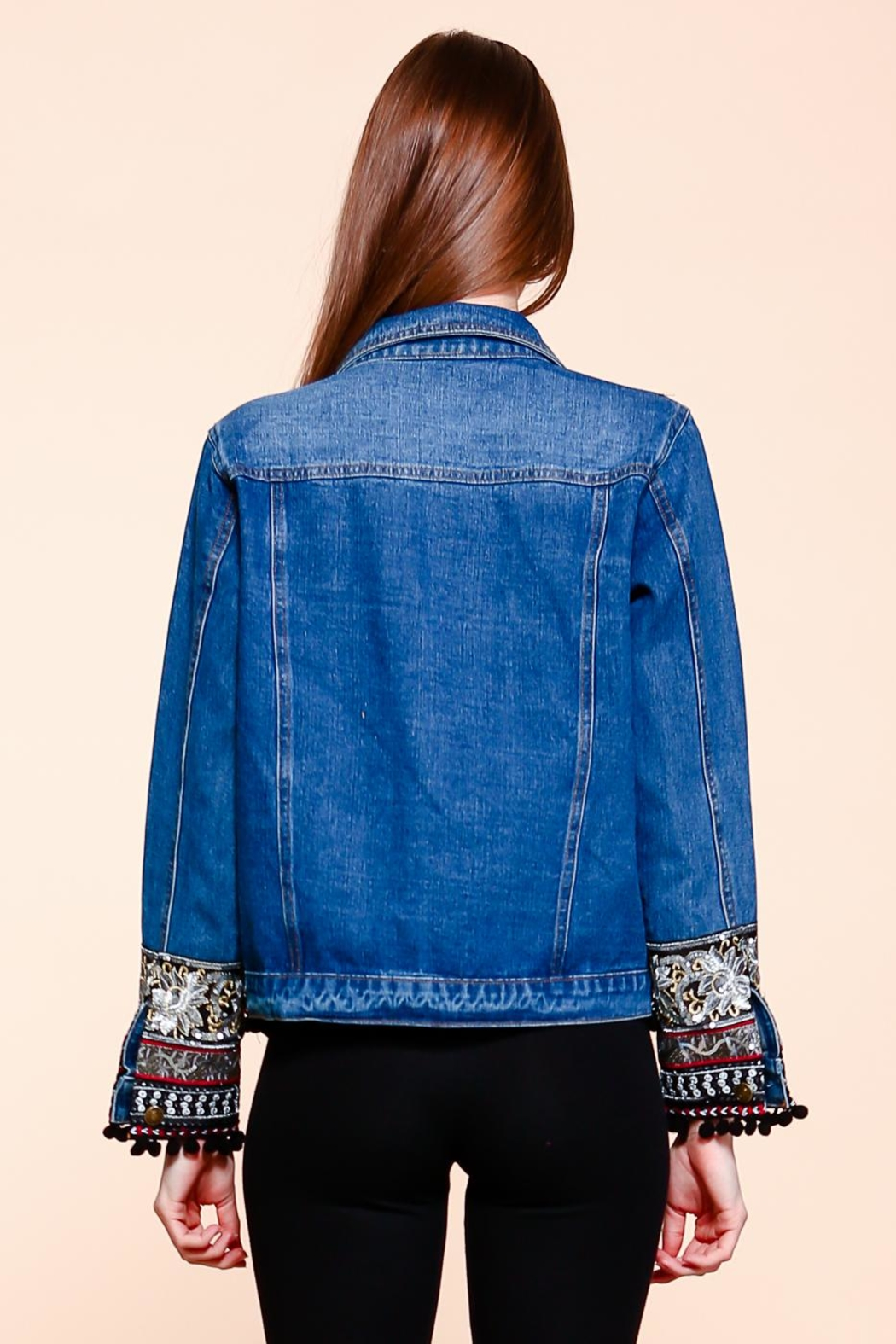 Velzera Embroidered Pom-Pom Denim-Jacket - Back Cropped Image