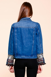 Velzera Embroidered Pom-Pom Denim-Jacket - Back cropped