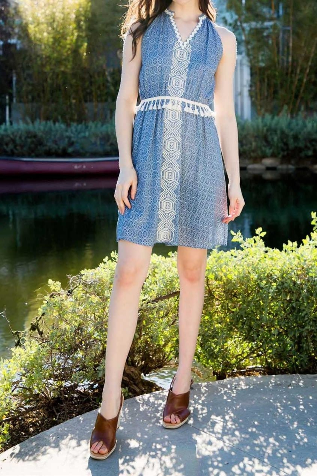 THML Clothing Embroidered Pompom Dress - Side Cropped Image