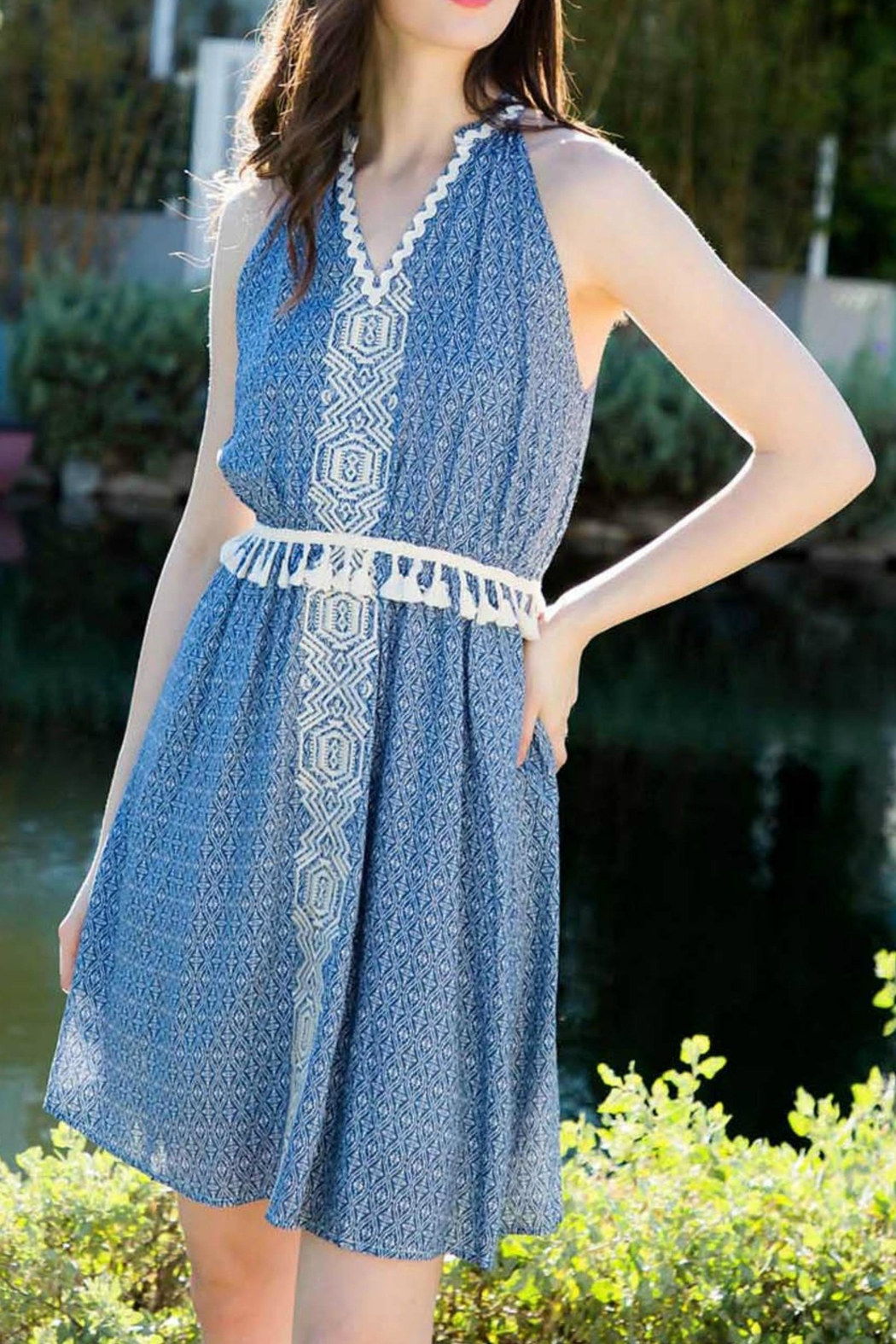 THML Clothing Embroidered Pompom Dress - Main Image