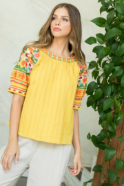 Thml Embroidered Puff Sleeve Top - Product Mini Image