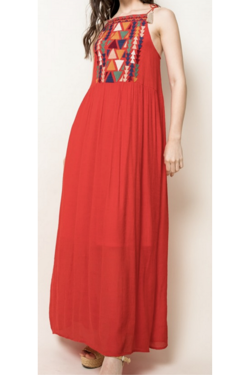 THML Clothing Embroidered Red Maxi - Main Image