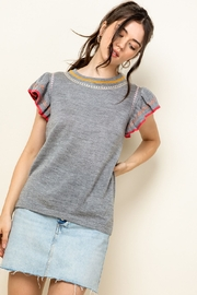 Thml Embroidered Rib Knit Top - Product Mini Image