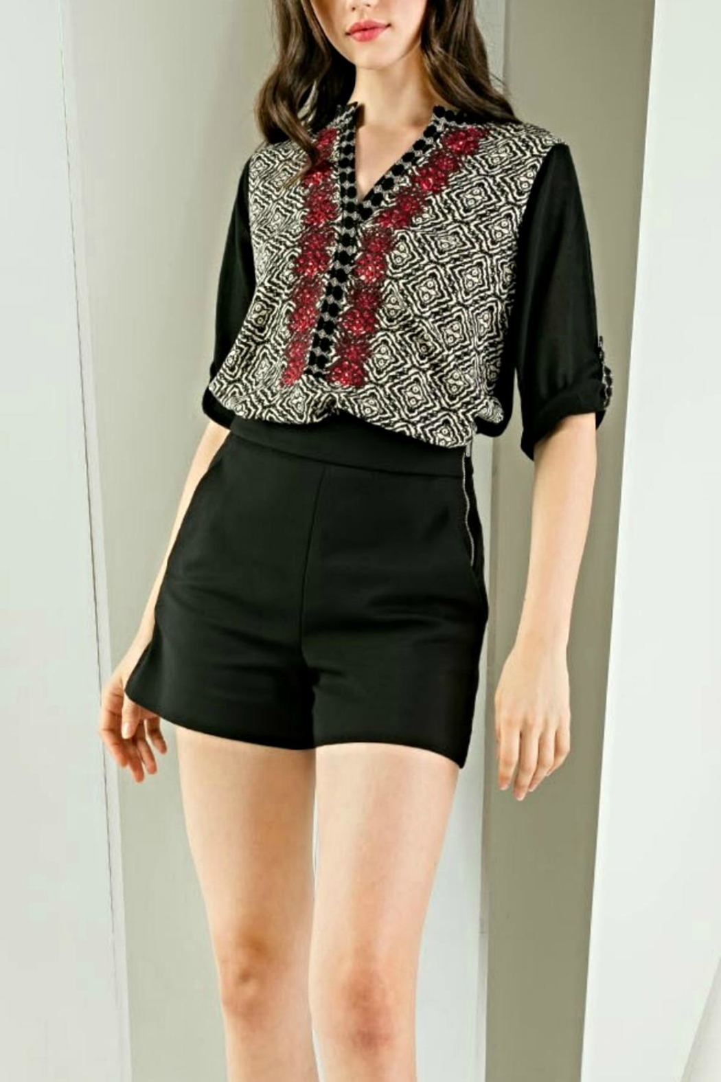 THML Clothing Embroidered Roll-Sleeve Blouse - Main Image