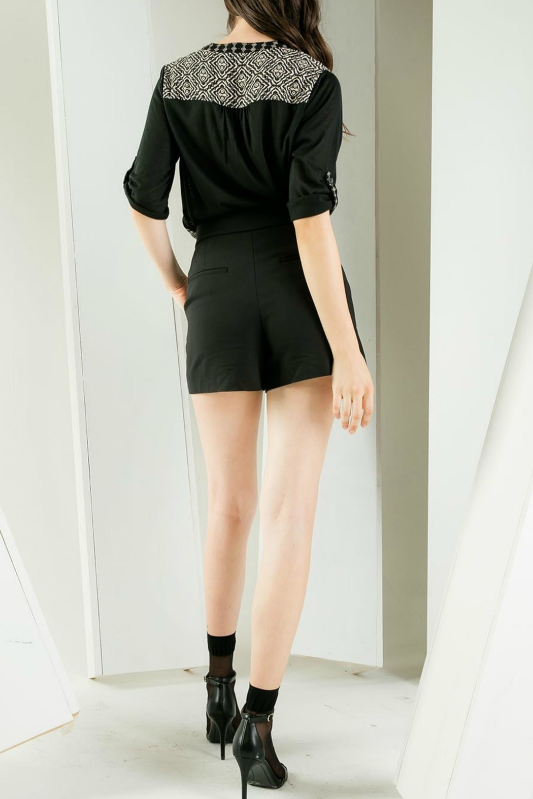 THML Clothing Embroidered Roll-Sleeve Blouse - Front Full Image