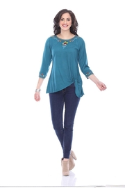 Parsley & Sage Embroidered Ruched Top - Product Mini Image