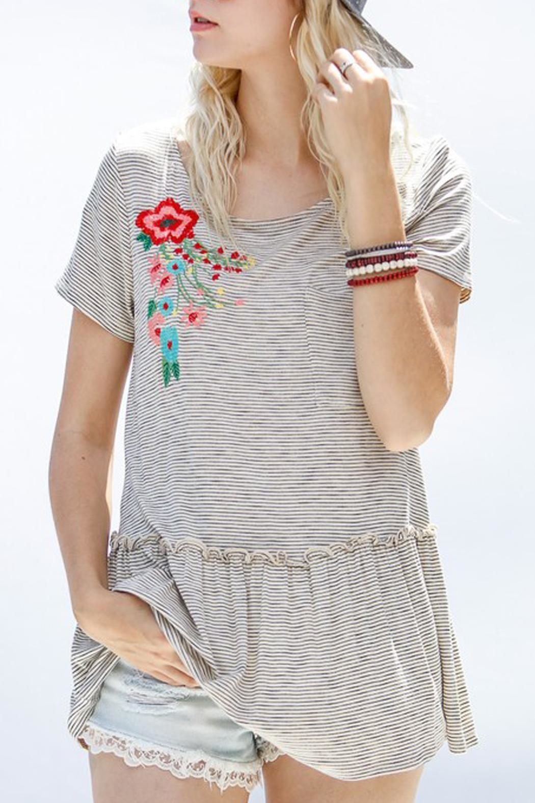 My Story Embroidered Ruffle Top - Main Image