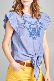chocolate usa Embroidered Ruffle Top - Product Mini Image