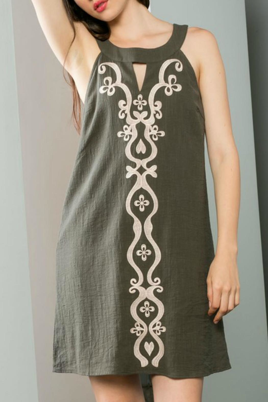 THML Clothing Embroidered Shift Dress - Back Cropped Image