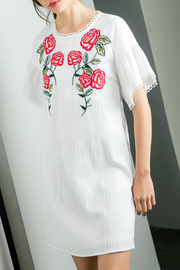 THML  Embroidered Shift Dress - Front cropped