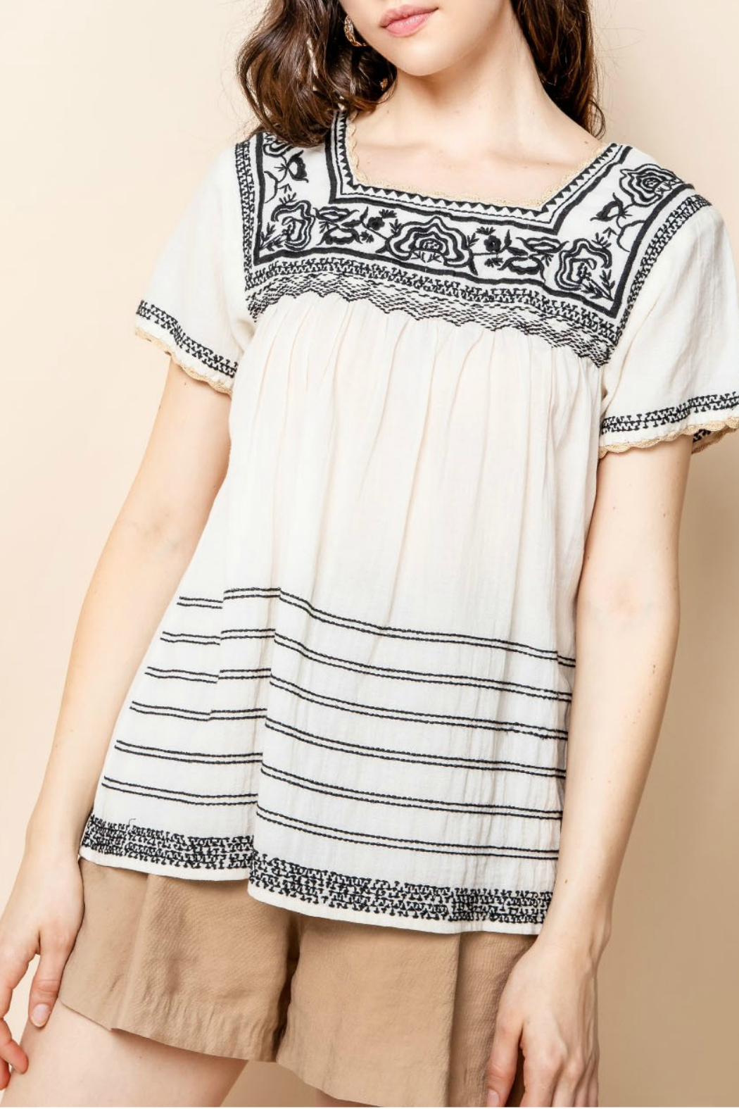 Thml Embroidered Short Sleeve Top - Main Image