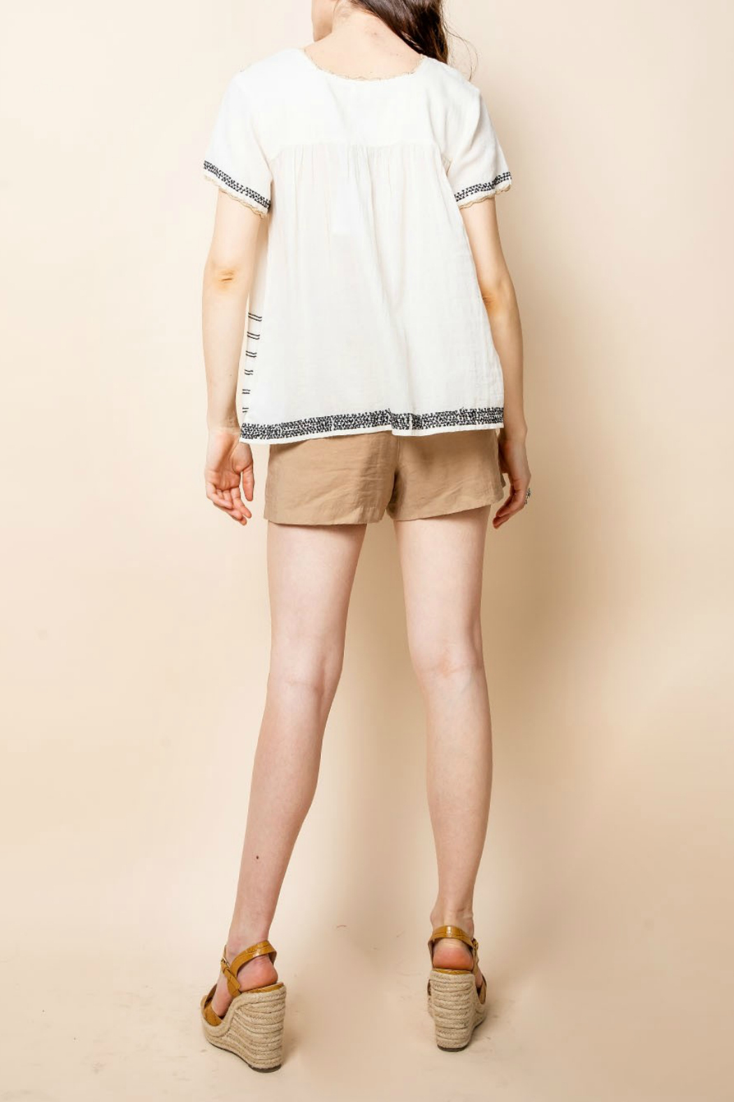 Thml Embroidered Short Sleeve Top - Front Full Image