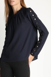 Skies Are Blue Embroidered Sleeve Blouse - Product Mini Image