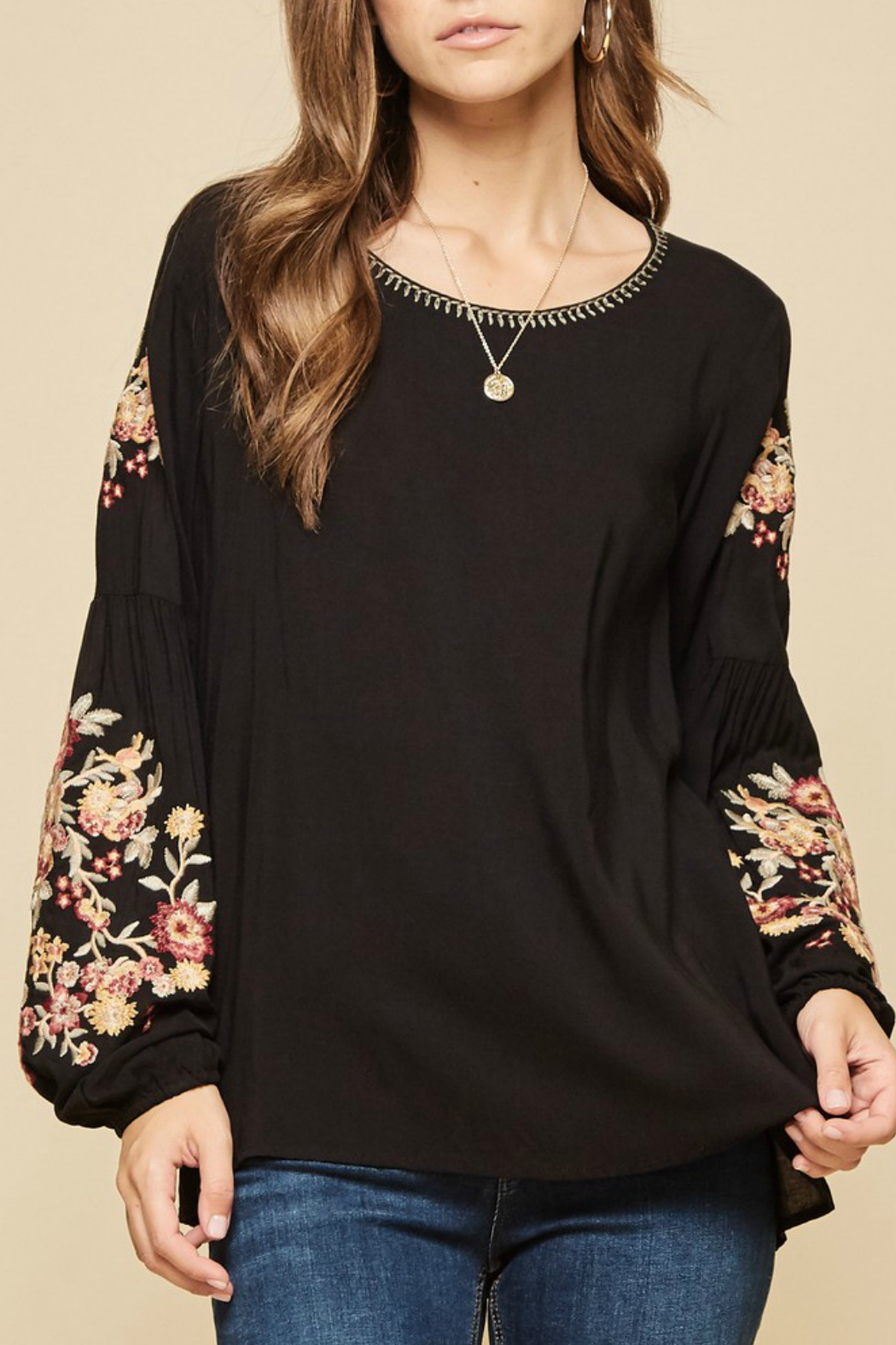 Andree by Unit embroidered sleeve detail top - Main Image