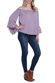 Taylor and Sage Embroidered sleeve off shoulder top - Product Mini Image