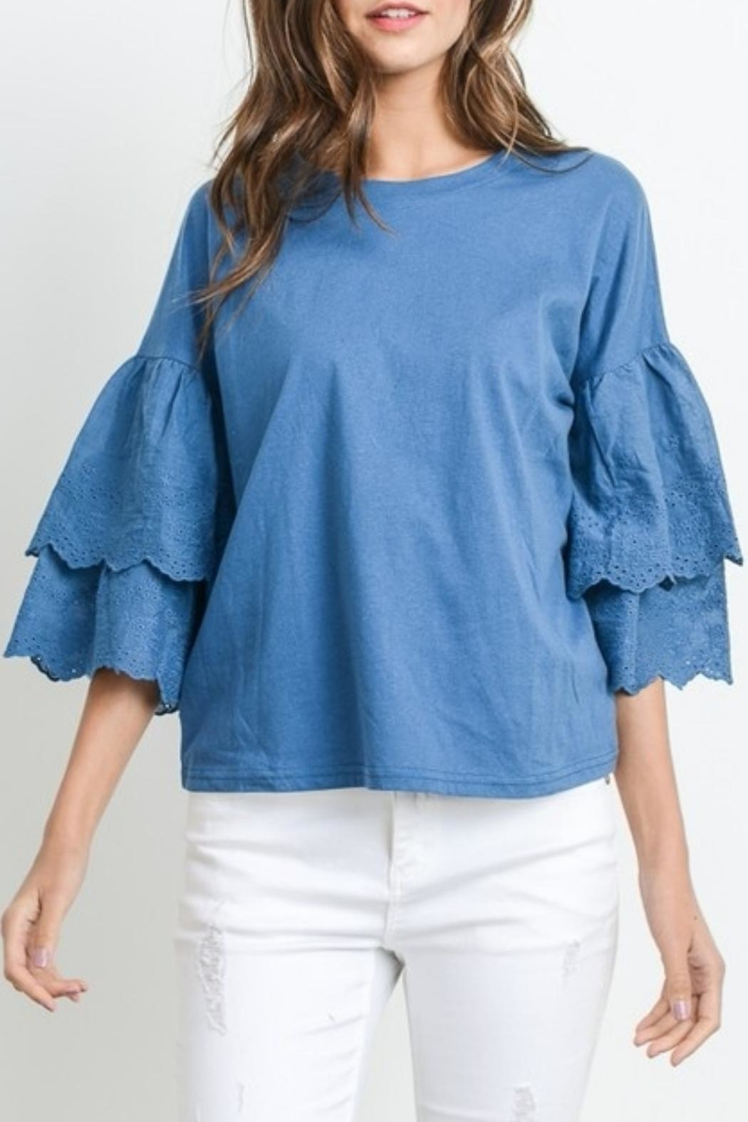 Le Lis Embroidered Sleeve Tee - Front Full Image