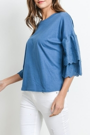 Le Lis Embroidered Sleeve Tee - Front cropped